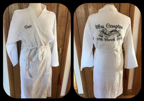 "Waffle Cotton""Wedding Bells"" Dressing gown"
